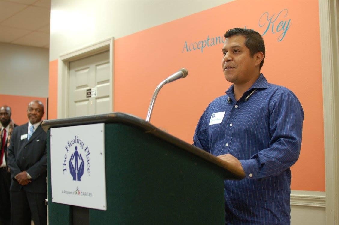 David speaking at The Healing Place