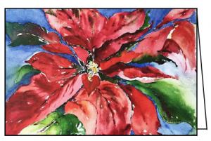 Card B: Hand painted poinsettia by a CARITAS friend and local artist.
